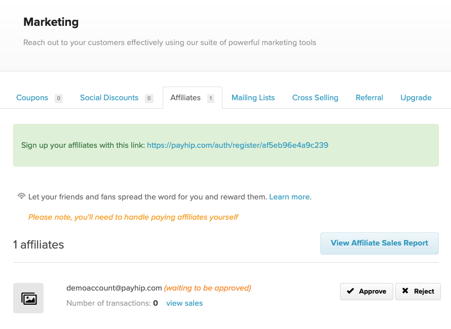 The Payhip affiliates dashboard with a pending affiliate