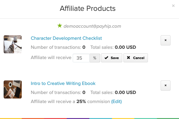 The View Products modal for an affiliate on Payhip