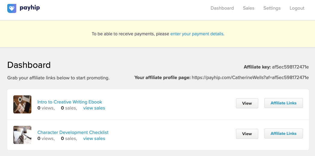 The affiliate dashboard on Payhip with some products to promote