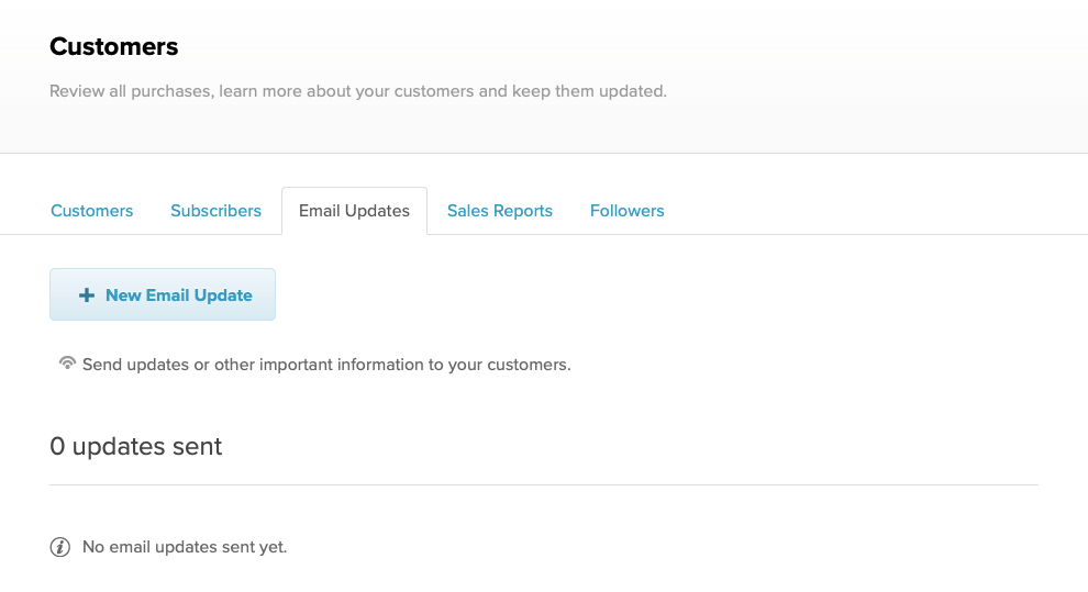 The email updates page on Payhip