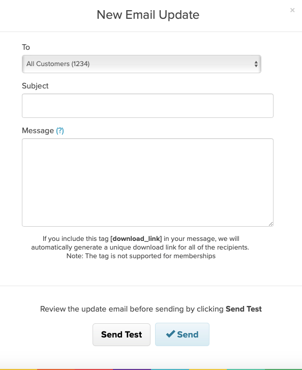 The email updates modal on Payhip