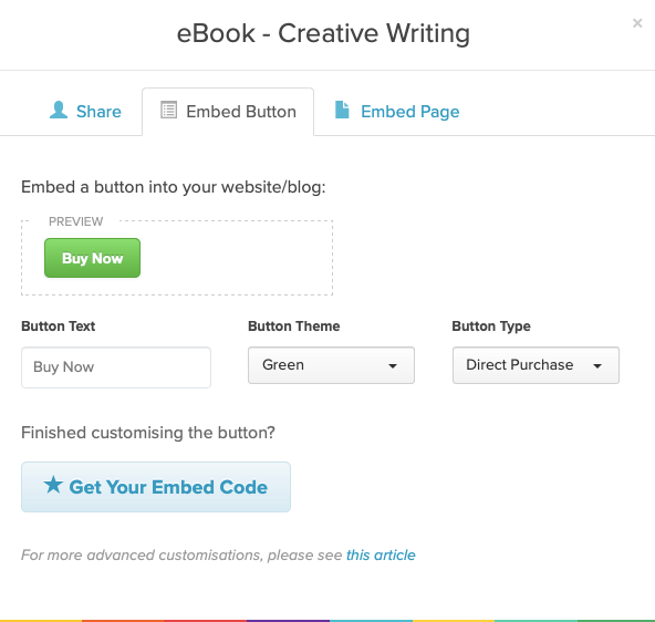 An example of the embed button tab of the Share / Embed modal for a product in Payhip