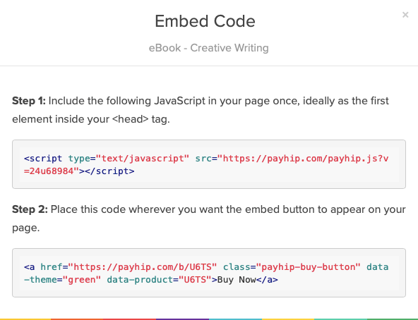 The embed code for a button