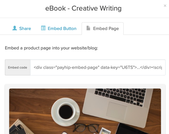 An example of the embed page tab of the Share / Embed modal for a product in Payhip