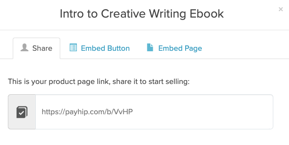 An example of the link tab of the Share / Embed modal for a product in Payhip
