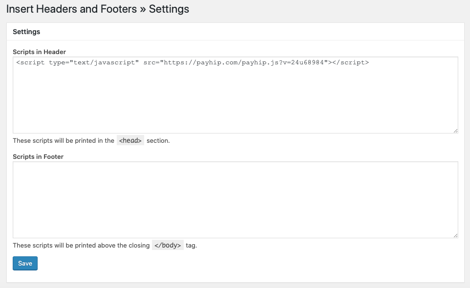 Screenshot showing the javascript snippet pasted into the page header using Insert Headers and Footers