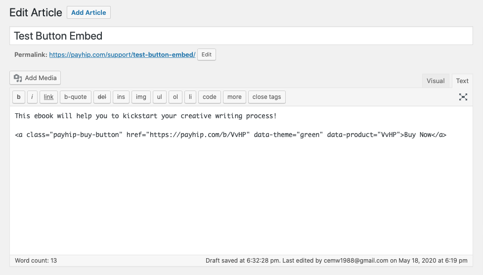 Adding the HTML for a Payhip button to a WordPress article