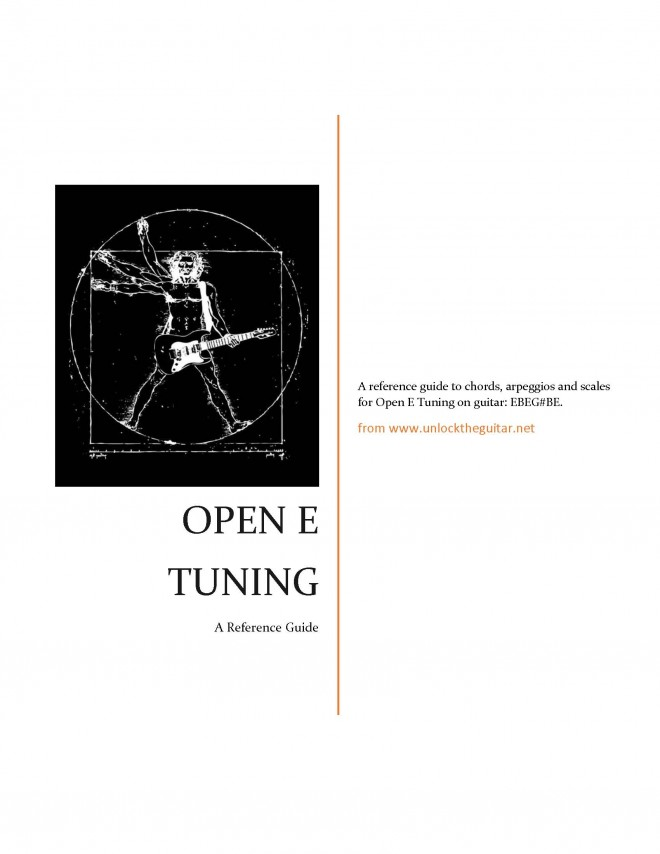 Open E Tuning Chord, Arpeggio and Scale Reference