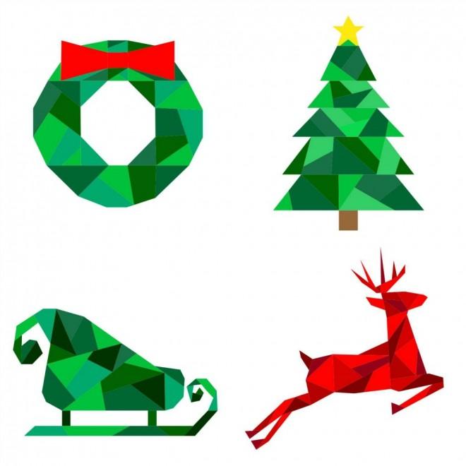Paper Pieced Christmas Tree Pattern: Geometric Christmas Paper Pieced Pattern Bundle