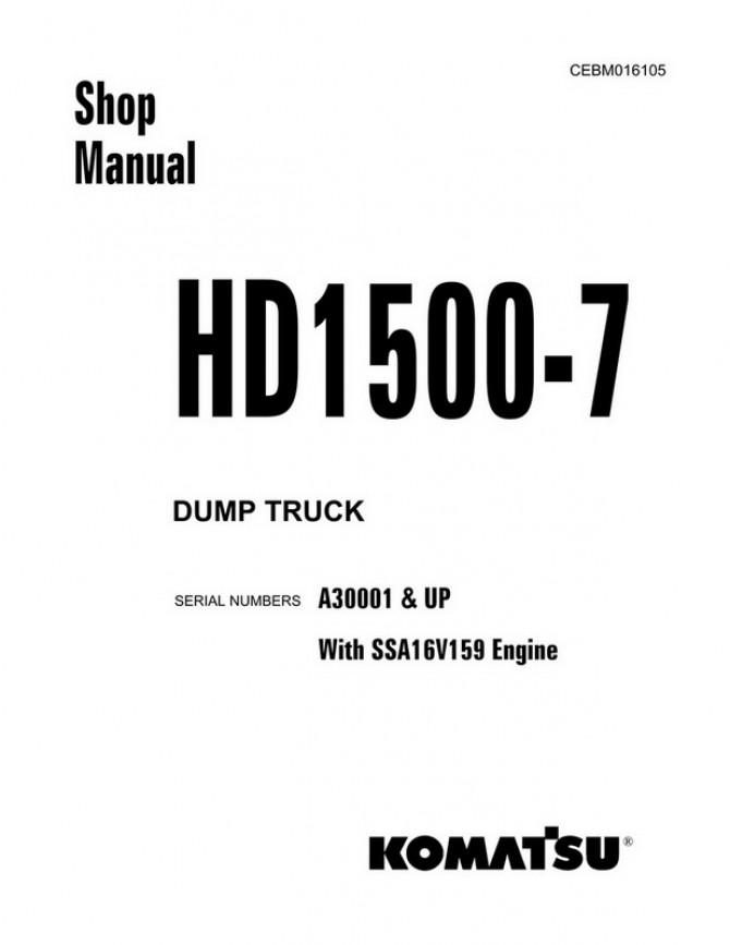 Komatsu HD1500-7 Dump Truck (A30001 and up) Shop Manual