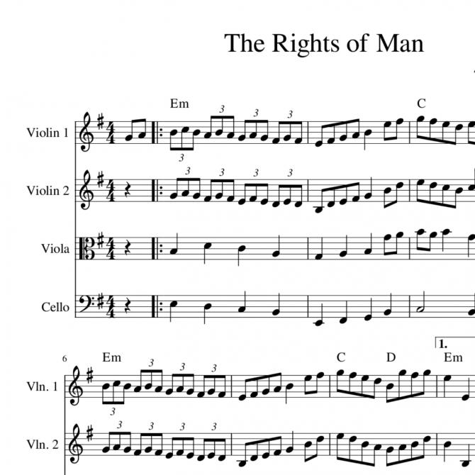 Rights of Man - string quartet sheet music arrangement